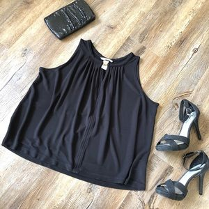 H&M black keyhole tank with gold detail